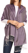 Sakkas Carine Reversible Soft Solid Slight Shimmer Pashmina/ Shawl/ Wrap/ Stole#color_Silver/purple