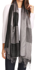 Sakkas Nicola Reversible Warm and Soft Unisex Scarf Stole Wrap Solid Color-block#color_Black