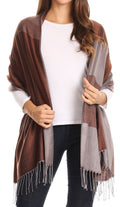 Sakkas Nicola Reversible Warm and Soft Unisex Scarf Stole Wrap Solid Color-block#color_Brown