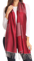 Sakkas Nicola Reversible Warm and Soft Unisex Scarf Stole Wrap Solid Color-block#color_Burgundy