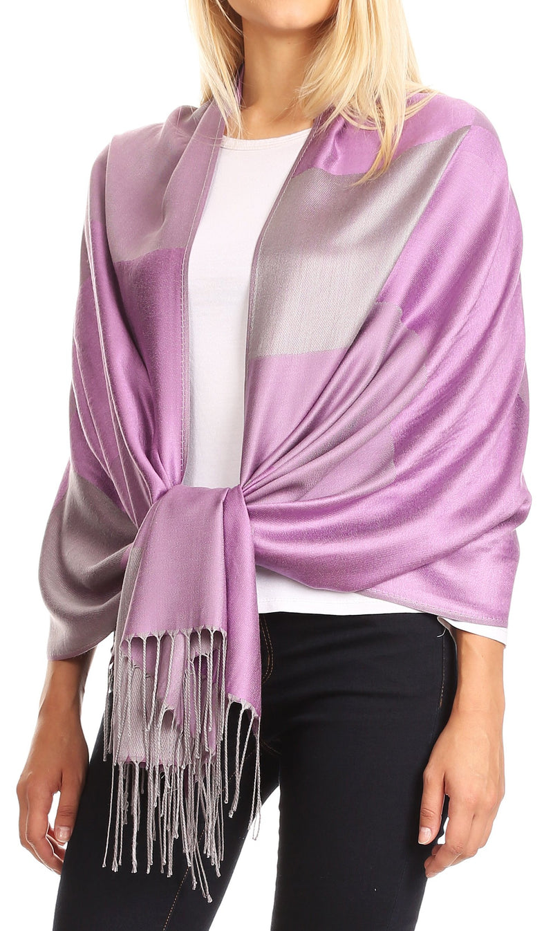 Sakkas Nicola Reversible Warm and Soft Unisex Scarf Stole Wrap Solid Color-block