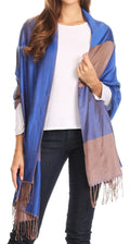 Sakkas Nicola Reversible Warm and Soft Unisex Scarf Stole Wrap Solid Color-block#color_Royal Blue