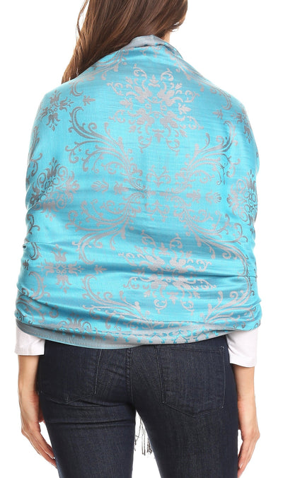 group-Turq (Sakkas Luna Reversible Tile Brocade Scarf Shawl Wrap Stole Soft and Warm)
