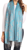 Sakkas Luna Reversible Tile Brocade Scarf Shawl Wrap Stole Soft and Warm#color_Turq