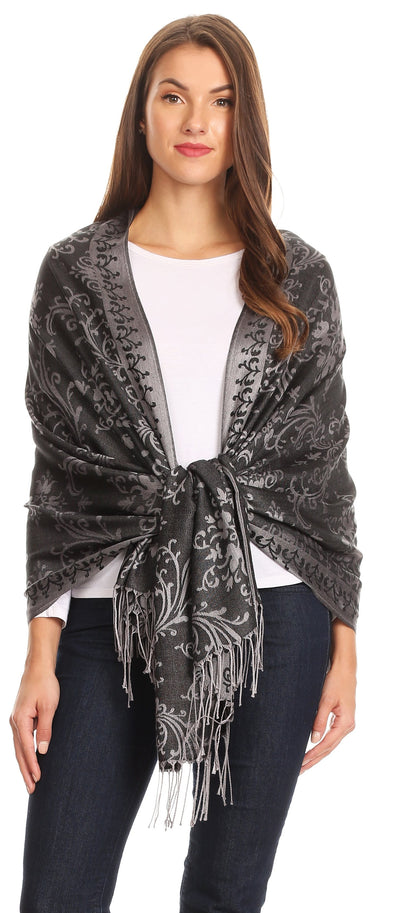 group-Black (Sakkas Luna Reversible Tile Brocade Scarf Shawl Wrap Stole Soft and Warm)