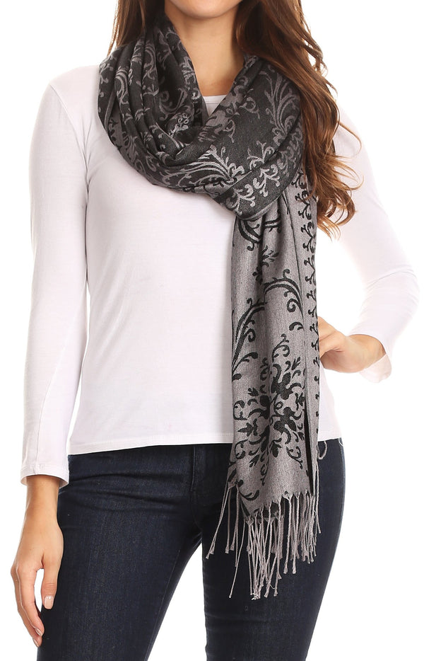 Sakkas Luna Reversible Tile Brocade Scarf Shawl Wrap Stole Soft and Warm#color_Black