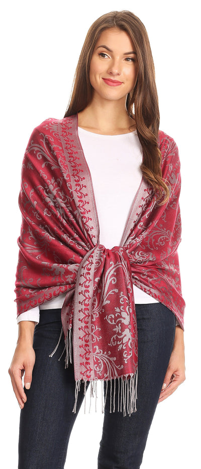 group-Burgundy (Sakkas Luna Reversible Tile Brocade Scarf Shawl Wrap Stole Soft and Warm)