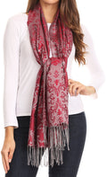 Sakkas Luna Reversible Tile Brocade Scarf Shawl Wrap Stole Soft and Warm#color_Burgundy