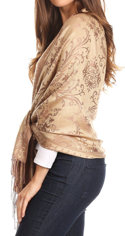 group-Camel (Sakkas Luna Reversible Tile Brocade Scarf Shawl Wrap Stole Soft and Warm)