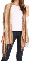Sakkas Luna Reversible Tile Brocade Scarf Shawl Wrap Stole Soft and Warm#color_Camel