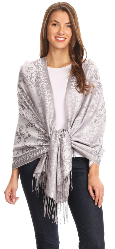 group-Gray (Sakkas Luna Reversible Tile Brocade Scarf Shawl Wrap Stole Soft and Warm)