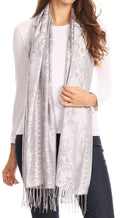 Sakkas Luna Reversible Tile Brocade Scarf Shawl Wrap Stole Soft and Warm#color_Gray