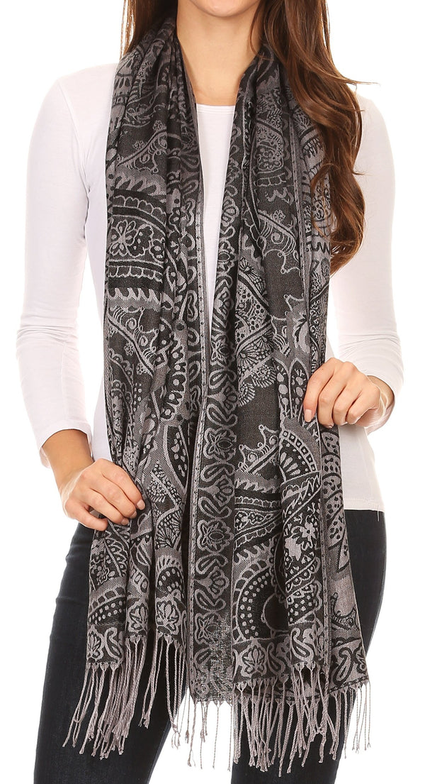 Sakkas Maelle Reversible Brocade Silky Soft Warm Scarf Shawl Wrap Stole w/ Fringe#color_Black