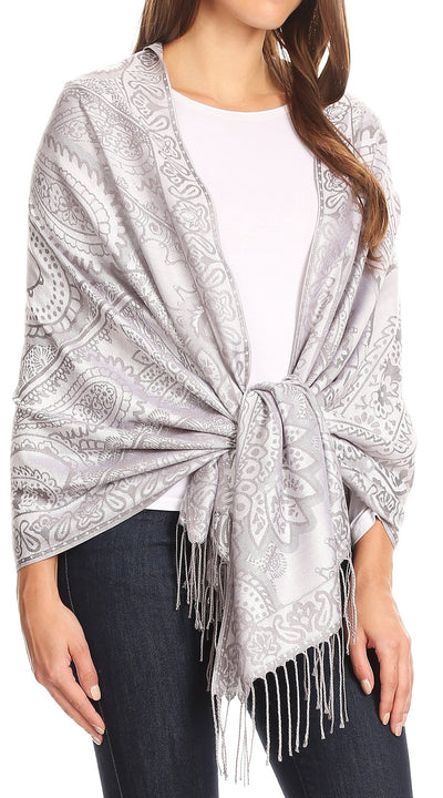 group-Gray (Sakkas Maelle Reversible Brocade Silky Soft Warm Scarf Shawl Wrap Stole w/ Fringe)