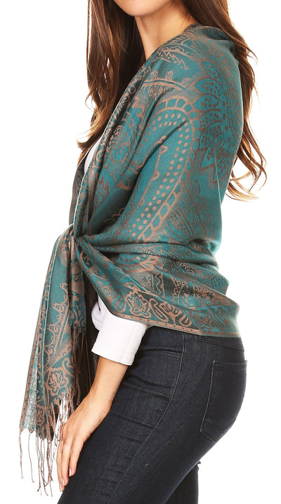 group-Teal (Sakkas Maelle Reversible Brocade Silky Soft Warm Scarf Shawl Wrap Stole w/ Fringe)