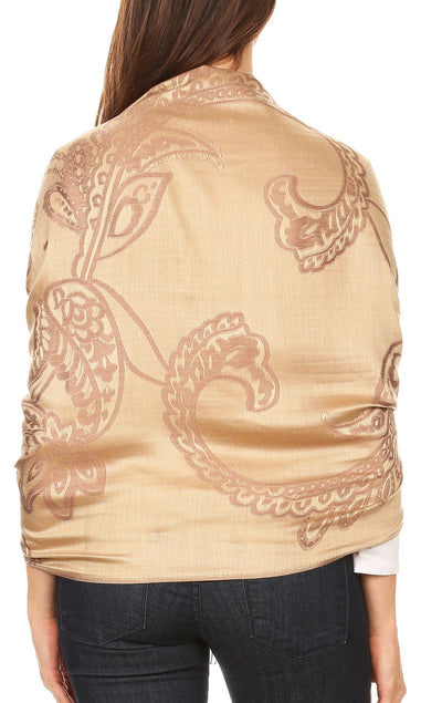 group-Camel (Sakkas Sarah Reversible Silky Soft Brocade Scarf Shawl Stole with Fringe)