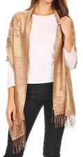 Sakkas Sarah Reversible Silky Soft Brocade Scarf Shawl Stole with Fringe#color_Camel