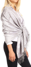 Sakkas Sarah Reversible Silky Soft Brocade Scarf Shawl Stole with Fringe