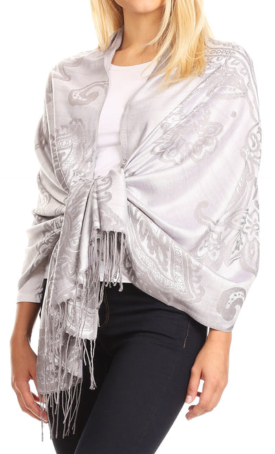 group-Gray (Sakkas Sarah Reversible Silky Soft Brocade Scarf Shawl Stole with Fringe)