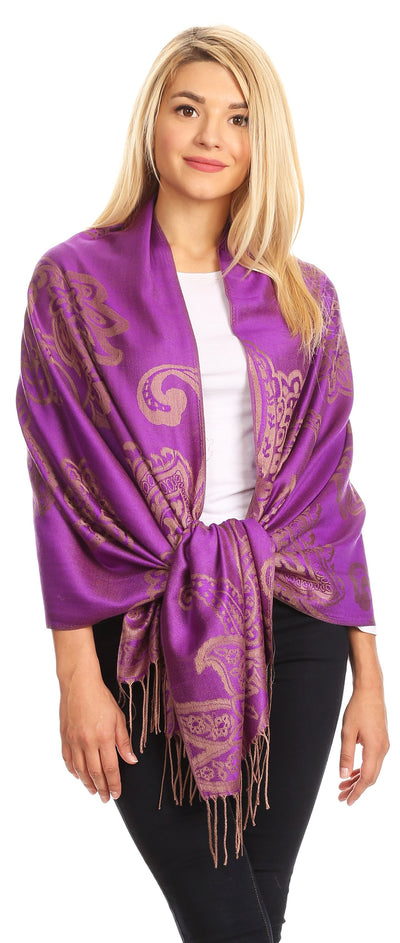 group-Purple (Sakkas Sarah Reversible Silky Soft Brocade Scarf Shawl Stole with Fringe)