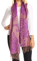 Sakkas Sarah Reversible Silky Soft Brocade Scarf Shawl Stole with Fringe#color_Purple