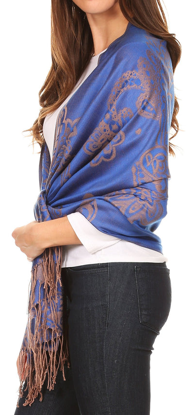 group-Royal blue (Sakkas Sarah Reversible Silky Soft Brocade Scarf Shawl Stole with Fringe)