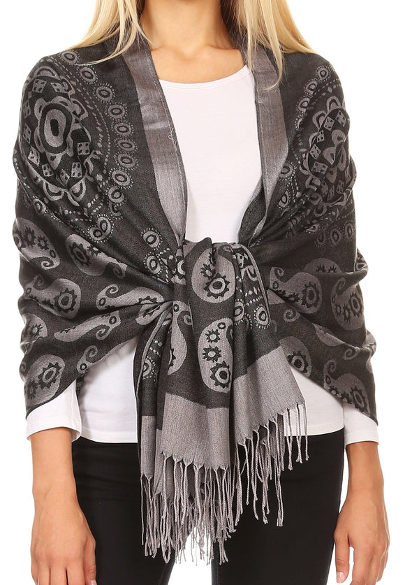 Sakkas Mia Reversible Brocade Paisley Scarf Wrap Shawl Soft and Light #color_Black