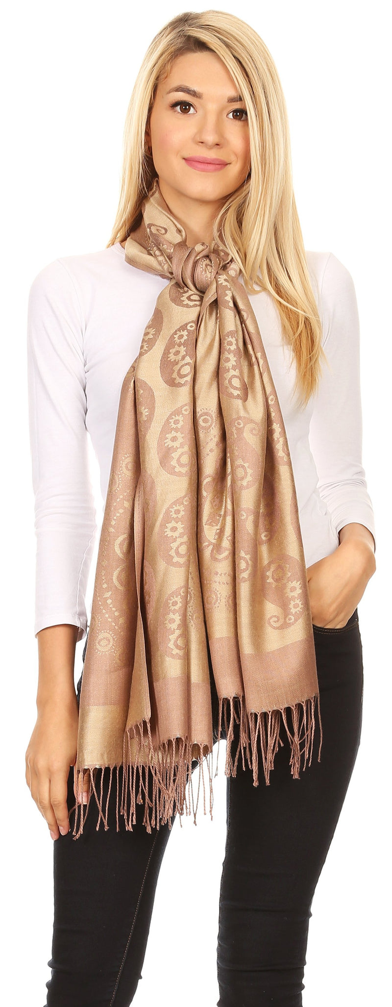 Sakkas Mia Reversible Brocade Paisley Scarf Wrap Shawl Soft and Light