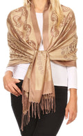 Sakkas Mia Reversible Brocade Paisley Scarf Wrap Shawl Soft and Light #color_Camel