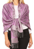 Sakkas Mia Reversible Brocade Paisley Scarf Wrap Shawl Soft and Light #color_Lavender