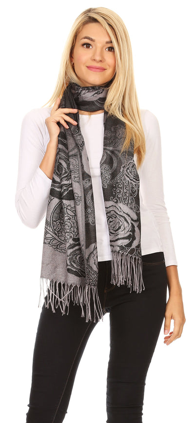 group-Black (Sakkas Tessa Reversible Rose Brocade Warm Soft Scarf Wrap Stole with Fringe)