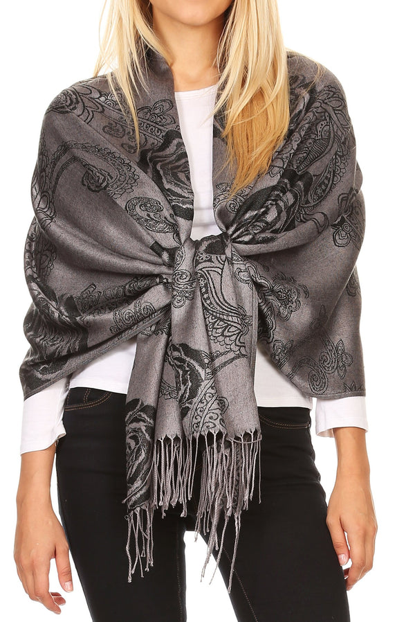 Sakkas Tessa Reversible Rose Brocade Warm Soft Scarf Wrap Stole with Fringe#color_Black