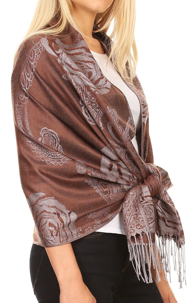 group-Brown (Sakkas Tessa Reversible Rose Brocade Warm Soft Scarf Wrap Stole with Fringe)