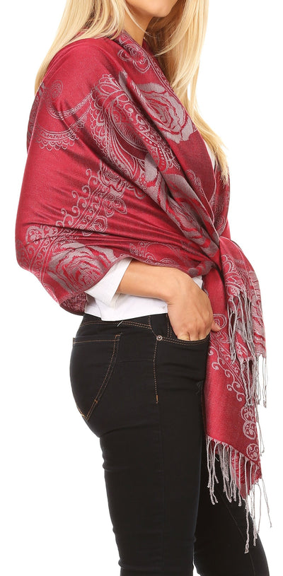 group-Burgandy (Sakkas Tessa Reversible Rose Brocade Warm Soft Scarf Wrap Stole with Fringe)