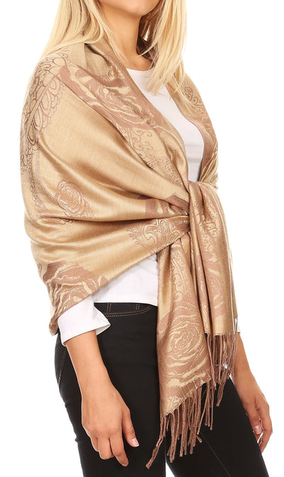 group-Camel (Sakkas Tessa Reversible Rose Brocade Warm Soft Scarf Wrap Stole with Fringe)