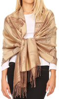 Sakkas Tessa Reversible Rose Brocade Warm Soft Scarf Wrap Stole with Fringe#color_Camel