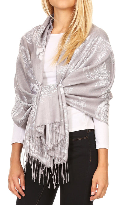 group-Gray (Sakkas Tessa Reversible Rose Brocade Warm Soft Scarf Wrap Stole with Fringe)