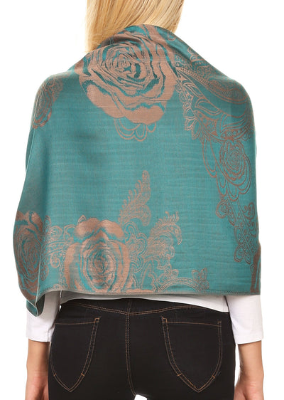 group-Teal (Sakkas Tessa Reversible Rose Brocade Warm Soft Scarf Wrap Stole with Fringe)