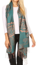 Sakkas Tessa Reversible Rose Brocade Warm Soft Scarf Wrap Stole with Fringe#color_Teal