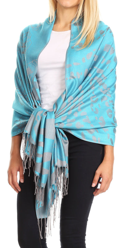 group-Turq (Sakkas Salome  Reversible Silky soft Wrap Shawl Scarf with Lovely Floral Brocade )