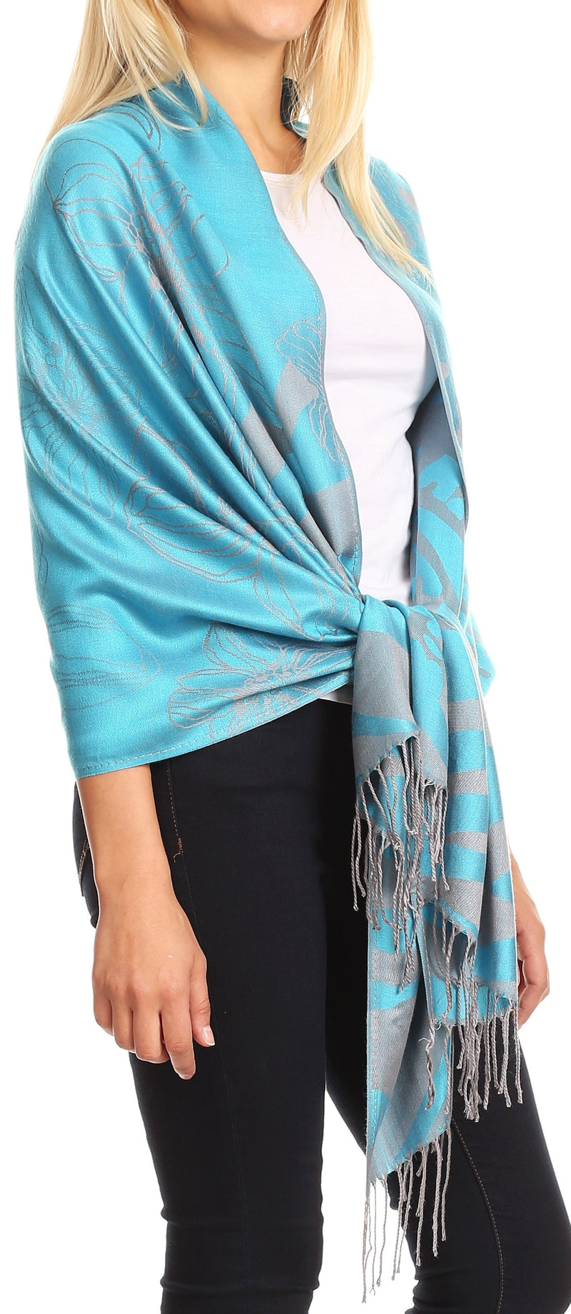 Sakkas Salome  Reversible Silky soft Wrap Shawl Scarf with Lovely Floral Brocade