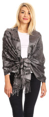 group-Black (Sakkas Salome  Reversible Silky soft Wrap Shawl Scarf with Lovely Floral Brocade )