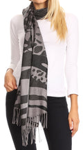 Sakkas Salome  Reversible Silky soft Wrap Shawl Scarf with Lovely Floral Brocade #color_Black