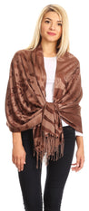 group-Brown (Sakkas Salome  Reversible Silky soft Wrap Shawl Scarf with Lovely Floral Brocade )