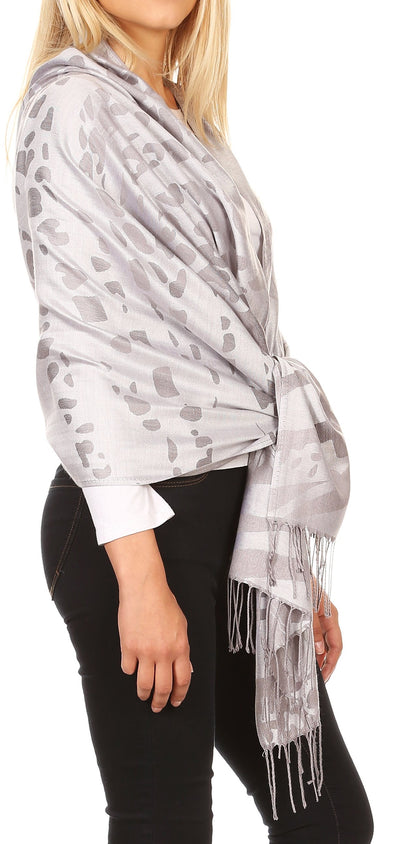 group-Gray (Sakkas Salome  Reversible Silky soft Wrap Shawl Scarf with Lovely Floral Brocade )