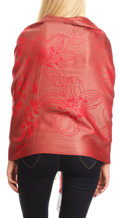 group-Red (Sakkas Salome  Reversible Silky soft Wrap Shawl Scarf with Lovely Floral Brocade )