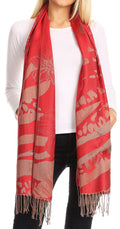 Sakkas Salome  Reversible Silky soft Wrap Shawl Scarf with Lovely Floral Brocade #color_Red