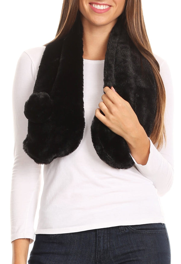 Sakkas Elise Faux Fur Mink Soft Warm Scarf with Pom-Pom#color_Black