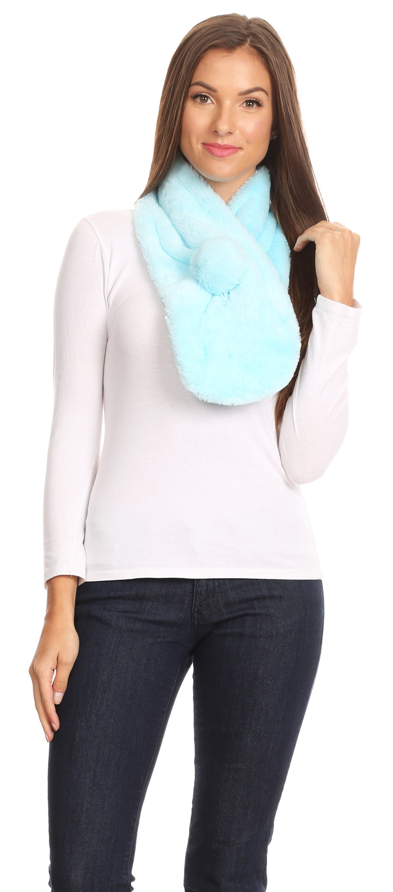 Sakkas Elise Faux Fur Mink Soft Warm Scarf with Pom-Pom