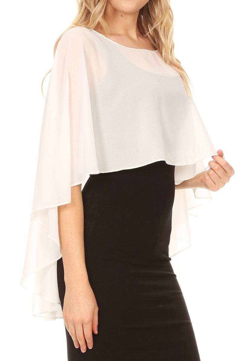 Sakkas Anya Women's Soft Chiffon Wedding Bridesmaid Bridal Cape Wrap Bolero Shrug